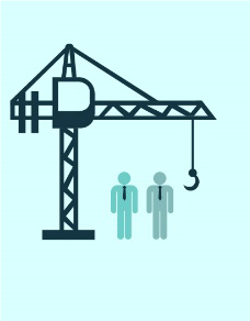 Crane and two people