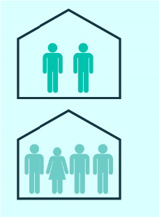 two houses and people